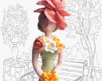 Cloth doll, Crocheted Rag doll, Amigurumi Art doll, Flower Lady,  gift idea for girl and mom, ooak amigurumi doll, retro style doll