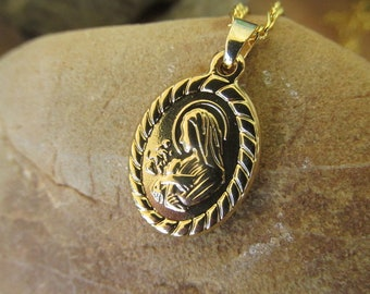 Virgin Mary Gold Filled Pendant18K Gold Filled Our Lady Of Grace NecklaceLadies Miraculous Lady PendantGirls Gold Filled Madonna Pendant