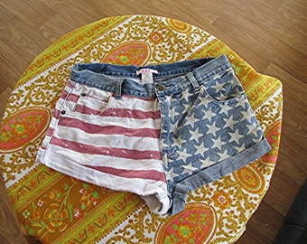 Stars and stripes distressed denim short shorts cute Supre brand ladies size XS 90s retro Boho.