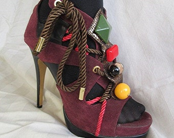 Purple suede leather platform shoes high heeled shoes chunky bright fun colorful shoes ladies shoes womens shoes AU/US size 9.