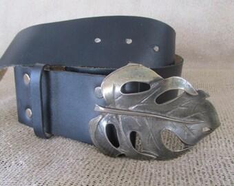 Black leather belt leather belt black belt leaf big buckle brass buckle boho belt hippie belt vintage 90s.