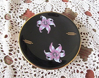 Little ceramic plate teabag dish Palissy black gold trim purple orchid design art deco style 40s vintage made in England.