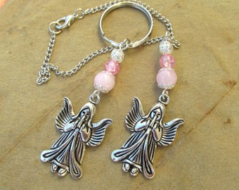 Angel rearview mirror charm angel car charm mirror charm car accessory new age guardian angel protection charm pearl crystal charm gift.