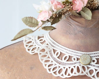 Lace lace collar, Vintage white necklace in lace embroidery, antique collar, customization, lace embroidery, wedding collar, COL170864