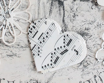 30 cut hearts made of old music, craft supplies, scrapbooking, textile arts, 1031