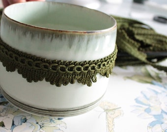 Green trimmings, green border for lampshade, curtain ornament, French trimmings, green trim, 2405