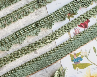 Green trimmings, vintage braid, border lampshade, ornament for curtain, decorative strip for kit, bag,2383