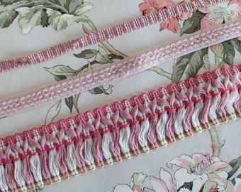 Vintage pink upholstery ribbon, pink braid, pink border, between two pink, pink fringed braid, pink trimmings, 2521