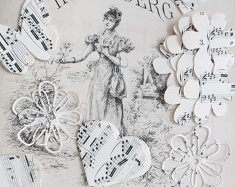 30 cut hearts, flowers, butterflies in vintage sheet music for crafting, scrapbooking, textile arts, 1031