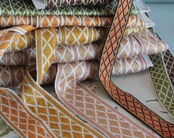 Jacquard furnishing braid, large geometric braid, on 1 meter - 1.09y, 100% Dralon acrylic, made in France, 2868