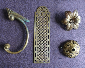 Bronze decor, bronze flower, bronze cover, furniture decor, curtain tieback, locksmith, 3361