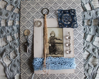 Antique french child authentic photo, golden thread, metal ring, vegetable-dyed linen, blue lace applique, small key, tassel, 3372