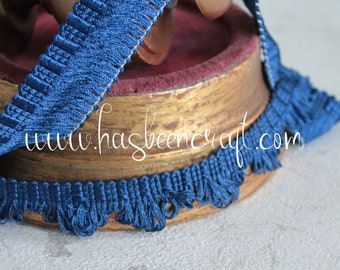 Royal blue braid of trimmings, vintage braid, border lampshade, curtain ornament, blue braid with fringes, French trimmings,
