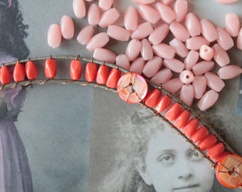 20 old French glass beads, 8mm pink milk tooth bead, bead for embroidery or jewellery, Pearl of Briare Bapterosses, 1093 1094