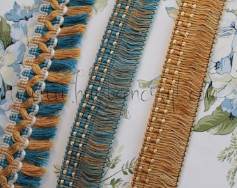 Upholstery with blue and yellow fringes, lampshade border, curtain ornament, French trimmings, 2436