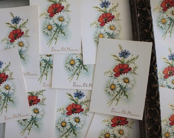 Mother's Day greeting card, Retro bouquet of flowers card, Card for her, spring gift for her, 2881