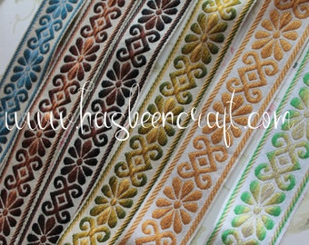 """Jacquard braid with geometric flowers, width 4.8 cm - 1.89 """"by 1 meter, 100% Dralon acrylic braid, made in France, 2899"""