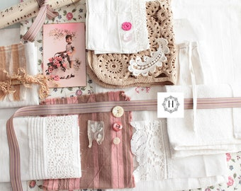 Bundle of fabrics, antique french linens, vintage french fabrics, lace trim, Ribbon, sewing buttons, inspiration bundle, crafting supplies