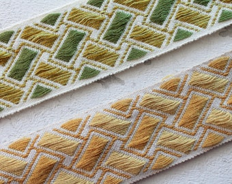 """Upholstery braid, geometric braid width 5.5 cm - 2.16 """"by 1 meter 1.09y, 100% Dralon acrylic, made in France, 2859CD"""