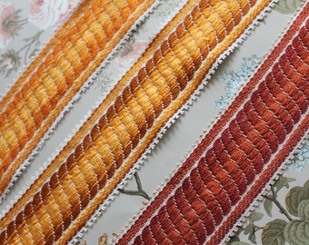 """Wide jacquard upholstery trim, width 6.5 cm 2 1/2 """"by 1 meter - 1.09y, 100% Dralon acrylic, made in France, 2851"""