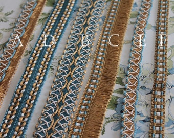 Gold and blue trimmings, vintage braid, shawl border, curtain ornament, yellow fringed braid, French trimmings, 2409