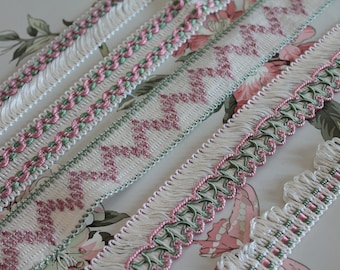 Trimmings, ivory, pink and green vintage braid, lampshade border, curtain ornament, white fringed braid, 2415