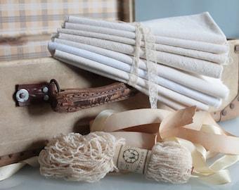 Creative surprise package of linen, hemp, french linen fabric, linens bundle, fat quarters,creative bundle,