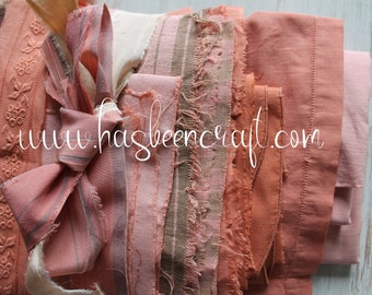 Antique French fabrics dyed in pink, coral, terracotta, terracotta lace, 2780