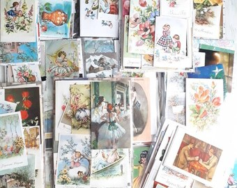 Pack of 30 vintage postcards and greeting cards for artjournaling, 3228