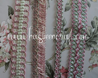 Pink, green and ivory trimmings, lampshade supplies, curtain ornament, pink fringed green braid, French trimmings, 2428 2429