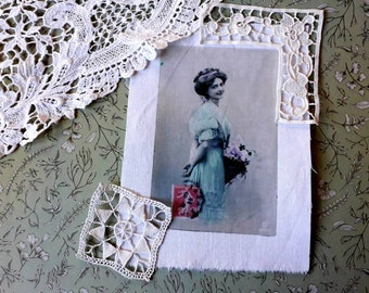 Antique french postcard transfer, for artjournaling, textile creations, romantic image, 2923