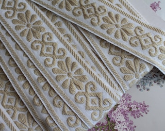 """Bicolor jacquard braid with geometric flowers, width 5 cm - 2 """"by 1 meter - 1.09y, 100% Dralon acrylic, made in France, 2846"""