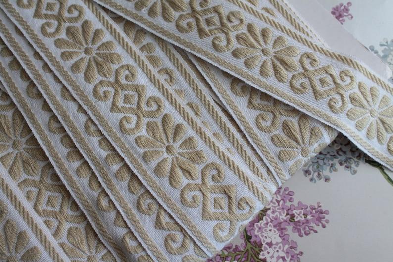 Bicolor jacquard braid with geometric flowers width 5 cm  2 image 0