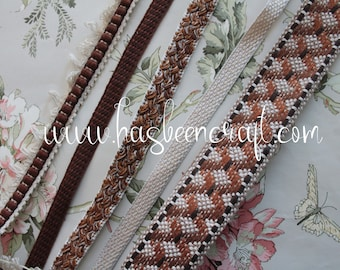 Braided trimmings, brown upholstery ribbon, 15 mm French trimmings, 3006