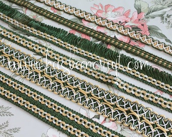 Dark green, yellow and ivory trimmings, blind shawl, curtain ornament, fringed green band, French trimmings, 2430