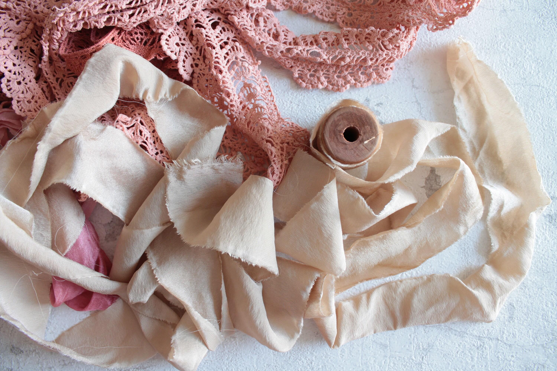 4 de yards Ruban de 4 crêpe satin de soie teint à la main, pour décor de mariage, loisirs créatifs, bijoux bohème, vêtement de poupée, THE, 1669 de0214