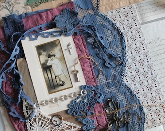 Creative lace kit, child photo, metal ring, handmade lace, navy blue lace, plum quilt, khaki cord, 3375