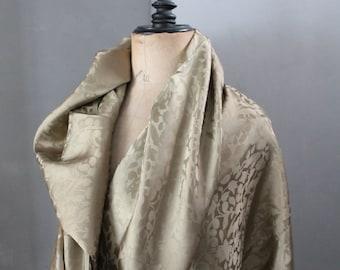 Patterned silk, vintage khaki fabric, mixed silk, width 85 cm, 2302