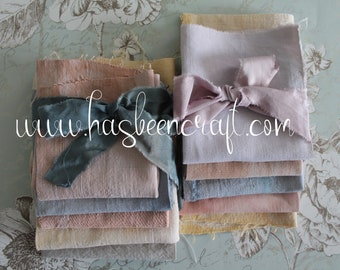 """Antique French linen hand-dyed in natural vegetable dyes, hemp, antique linen coupons, 5 pieces of 20 x 20 cm (= 8"""" x 8"""") ref2531"""