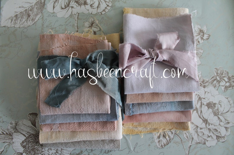 Antique French linen hand-dyed in natural vegetable dyes image 0