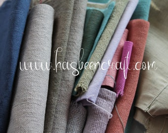 Linen, hemp, old French dyed cotton, 100g, 3.5oz of linen coupons, old fabric scraps, 2974