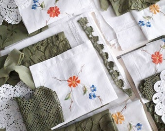 Pack of vintage fabrics țeints, Old dyed linen, tinted mattress canvas, green ribbon, white doily,