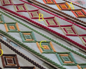 Jacquard braid with diamond pattern, 5 meters - 5.45yards, 100% Dralon acrylic, made in France, 2870