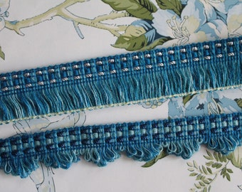 Blue wave fringed woolen trim, upholstery blue trim, French trimmings, 2445