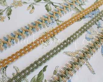 Yellow upholstery ribbon, green border for lampshade, curtain ornament, French trimmings, green trim, 2504