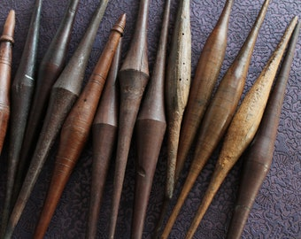 1 Old wooden spindle for spinning wool, old wooden tool, folk art tool, 3367