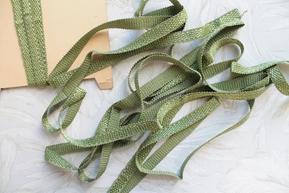 Galon vert plat de passementerie vintage de française, galon vert de 13 mm, galon vert de vintage 1/2