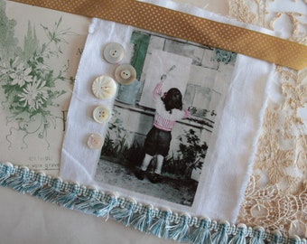 Antique french postcard transfer, for artjournaling, textile creations, child's photo, romantic image,