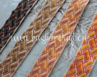 """Jacquard furnishing braid, geometric braid width 4 cm - 1.57 """"by 1 meter 1.09y, 100% Dralon acrylic, made in France, 2856"""