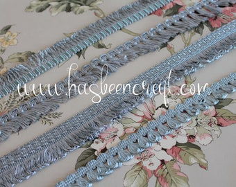 Blue trimmings light blue, vintage braid, border lampshade, curtain ornament, blue fringed braid, French trimmings, 2417